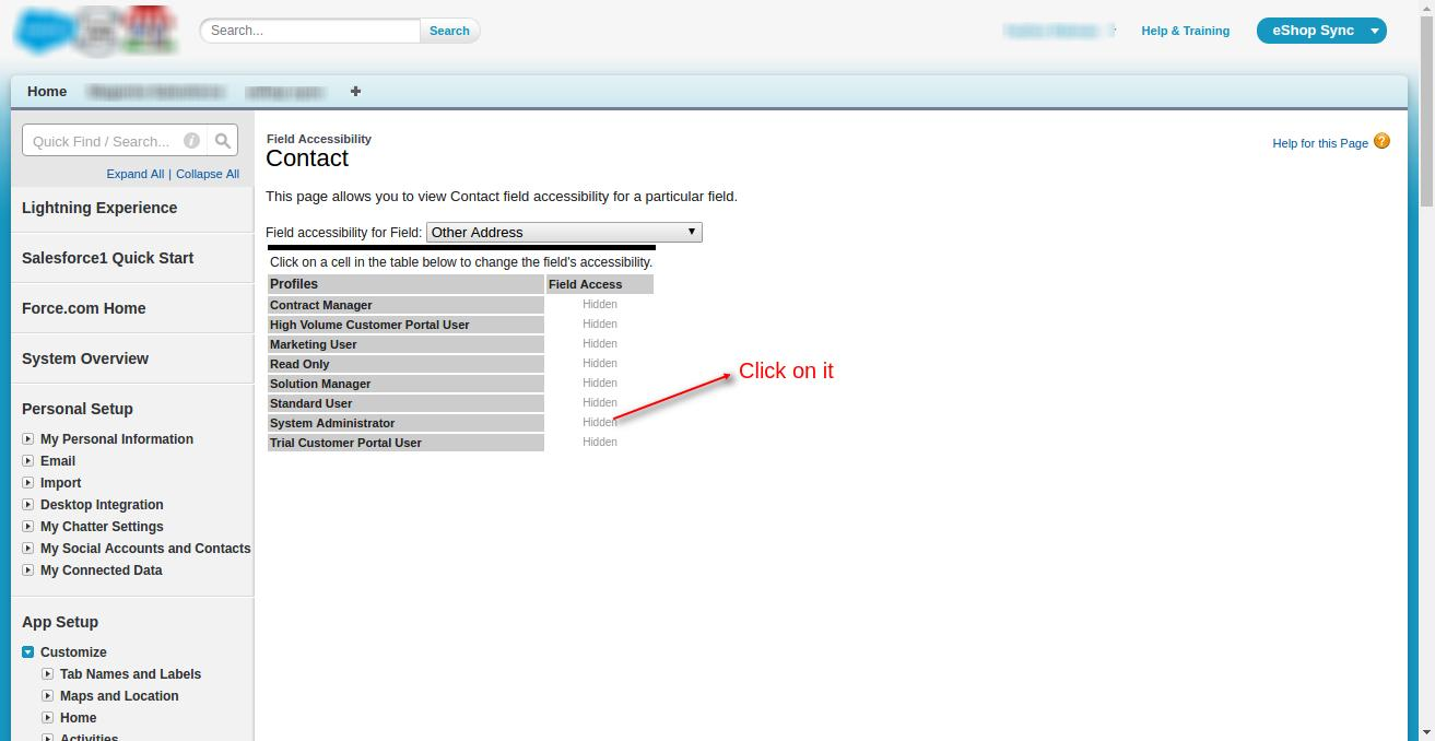 Field Accessibility: Contact ~ Salesforce - Enterprise Edition